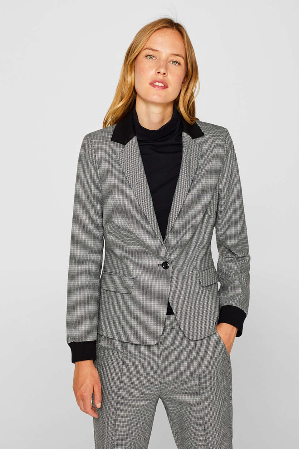Esprit - RIB-DETALJER Mix + Match stretchblazer