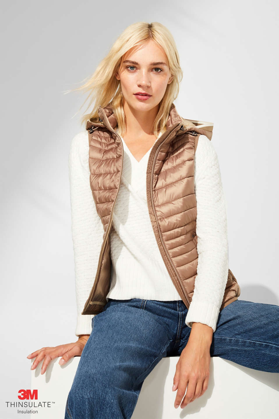 Quilted body warmer with 3M® Thinsulate filling, TAUPE, detail image number 0