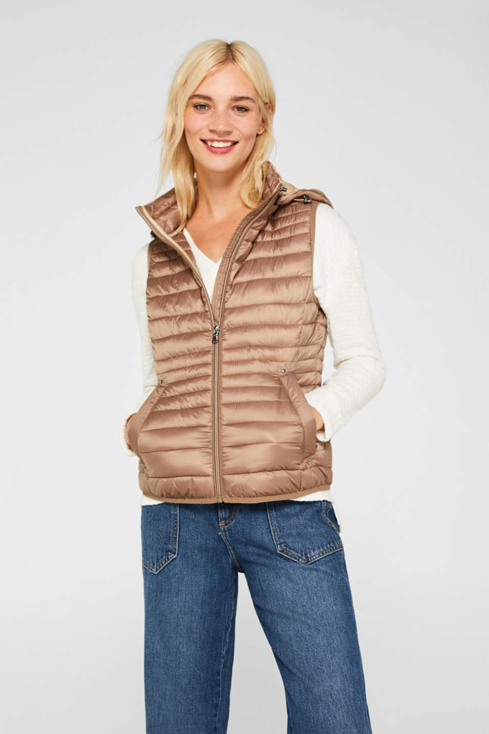 Quilted body warmer with 3M® Thinsulate filling, TAUPE, detail image number 7