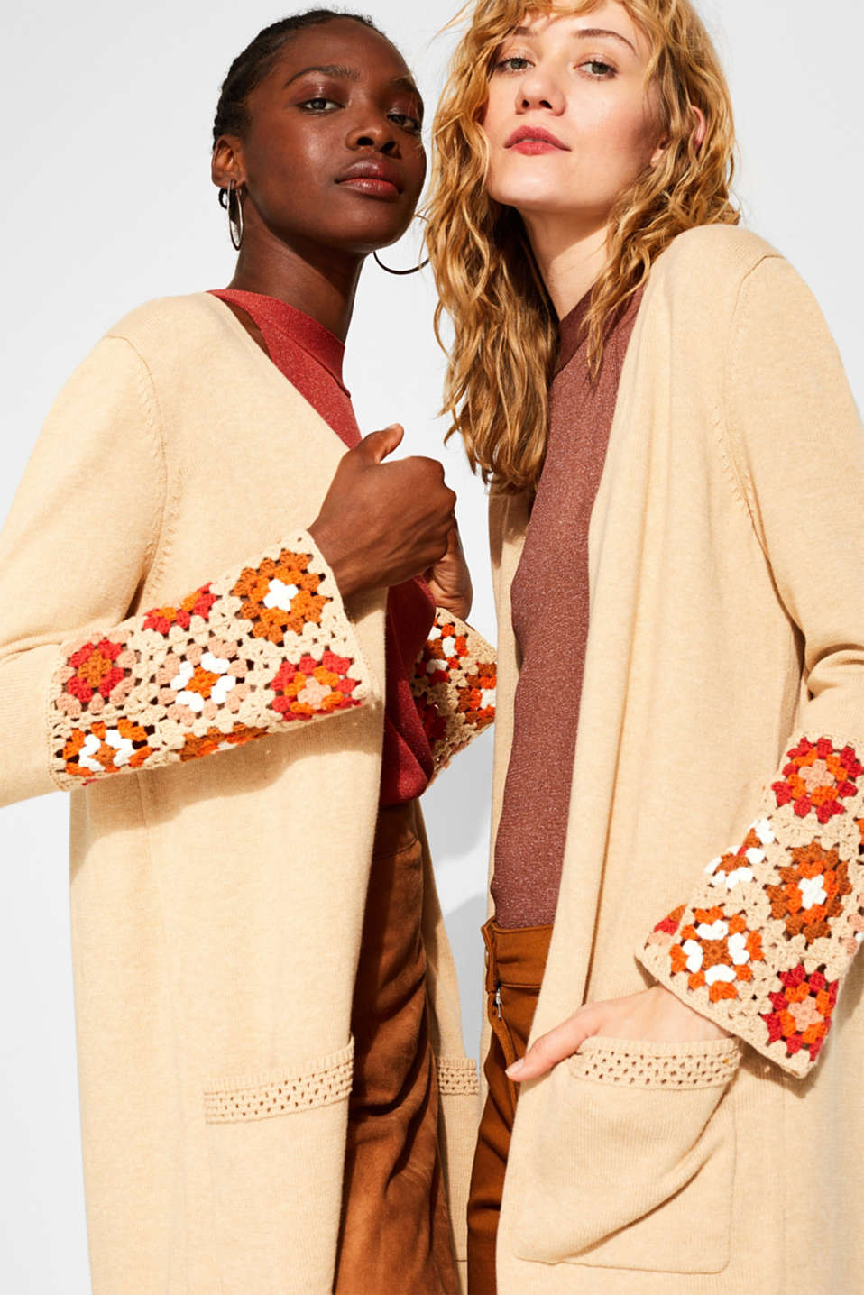 Long cardigan with crocheted details, 100% cotton, LIGHT BEIGE 5, detail image number 7