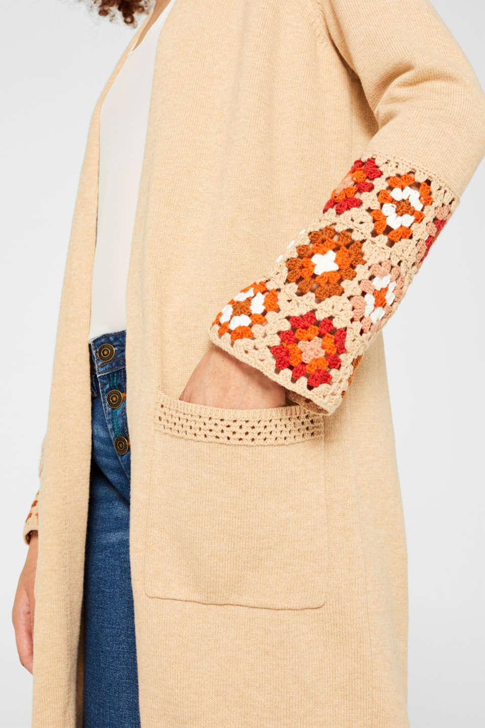 Long cardigan with crocheted details, 100% cotton, LIGHT BEIGE 5, detail image number 2