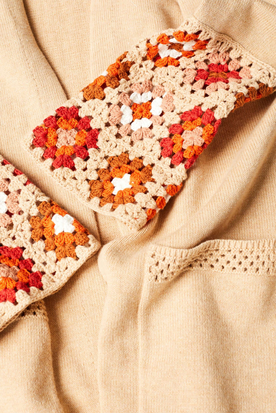 Long cardigan with crocheted details, 100% cotton, LIGHT BEIGE 5, detail image number 4