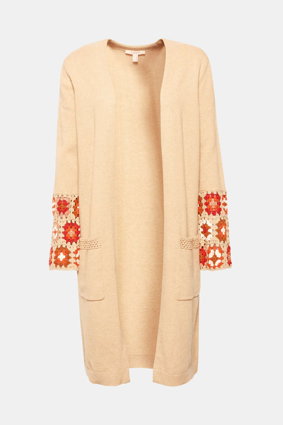 Long cardigan with crocheted details, 100% cotton, LIGHT BEIGE 5, detail image number 8