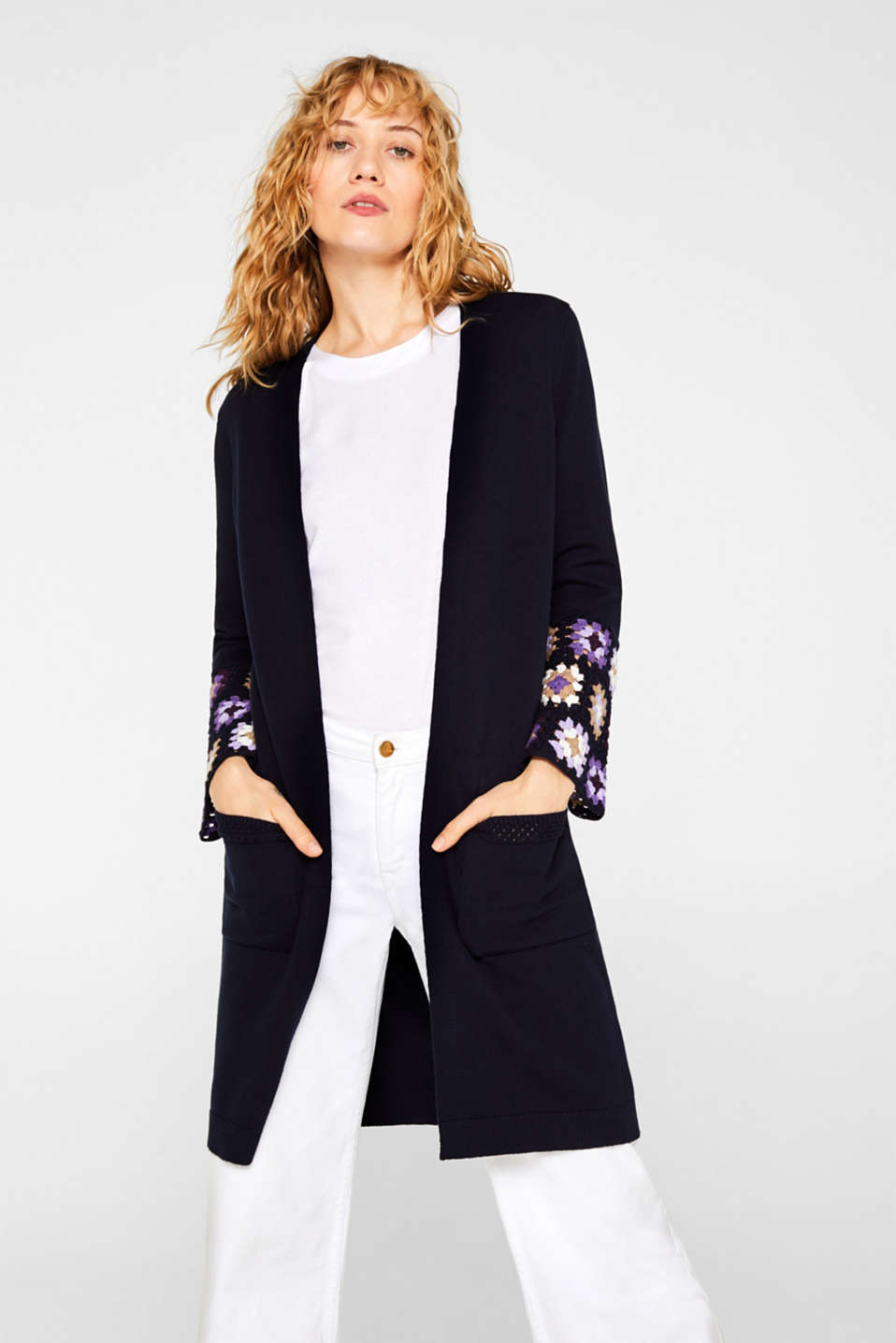 Esprit - Long cardigan with crocheted details, 100% cotton