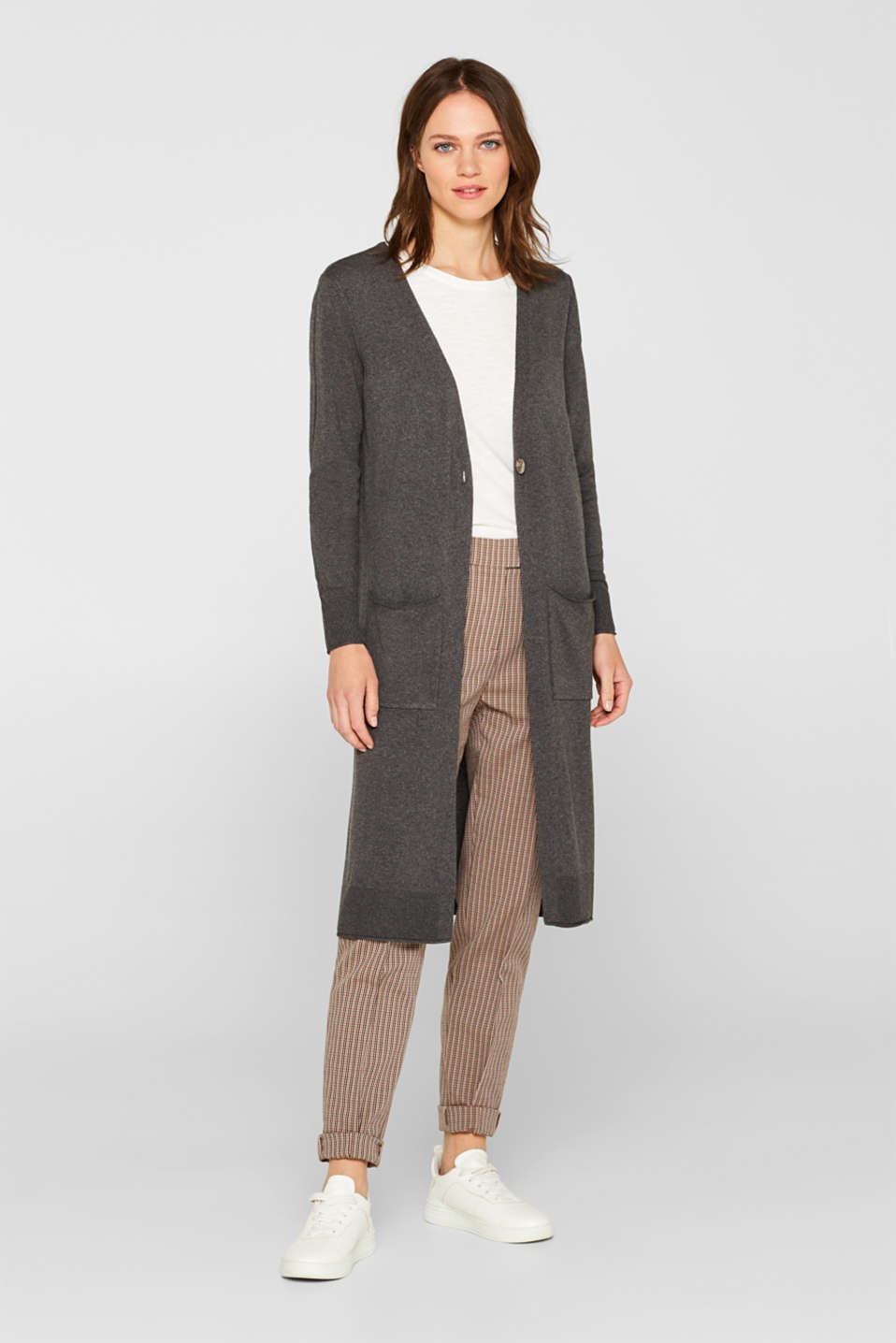 Linen blend: Long cardigan with pockets, DARK GREY 5, detail