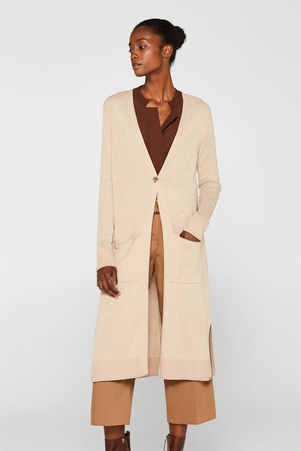 Esprit - Linen blend: Long cardigan with pockets