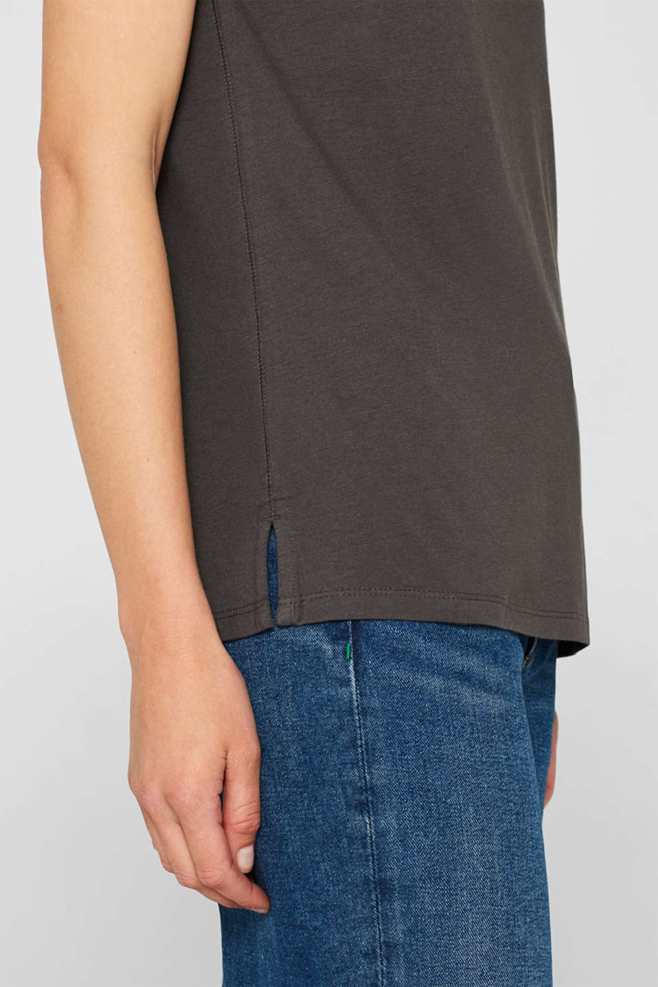 Smooth top with a distinctive ribbed trim, DARK GREY, detail image number 2