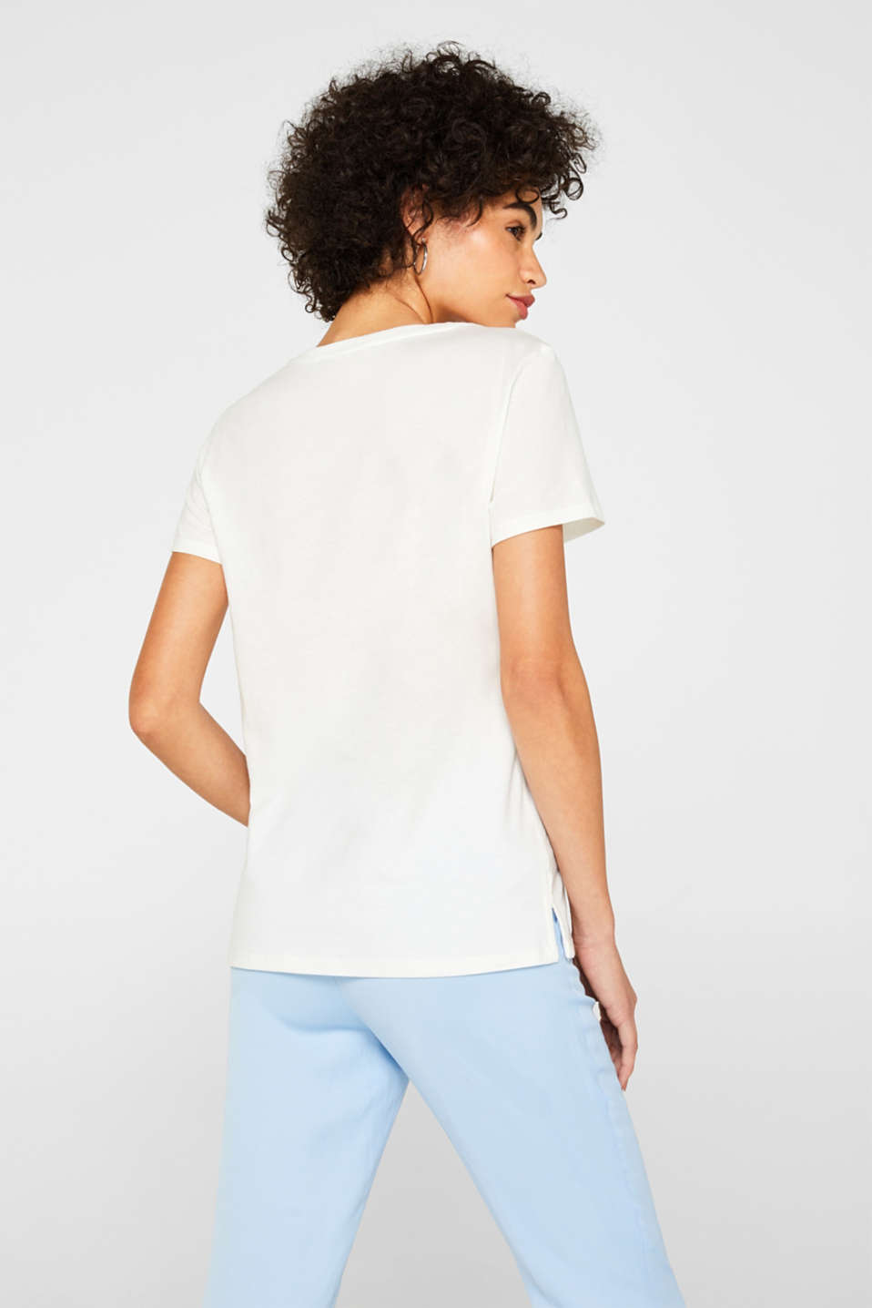 Smooth top with a distinctive ribbed trim, OFF WHITE, detail image number 3