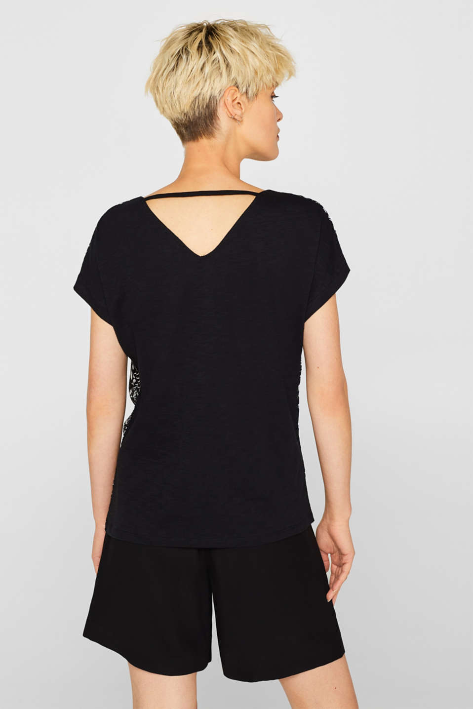 Material mix blouse top with cut-out on the back, BLACK, detail image number 3