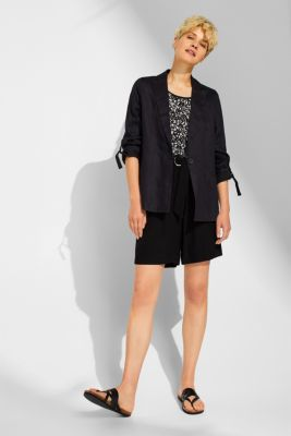 Material mix blouse top with cut-out on the back, BLACK, detail
