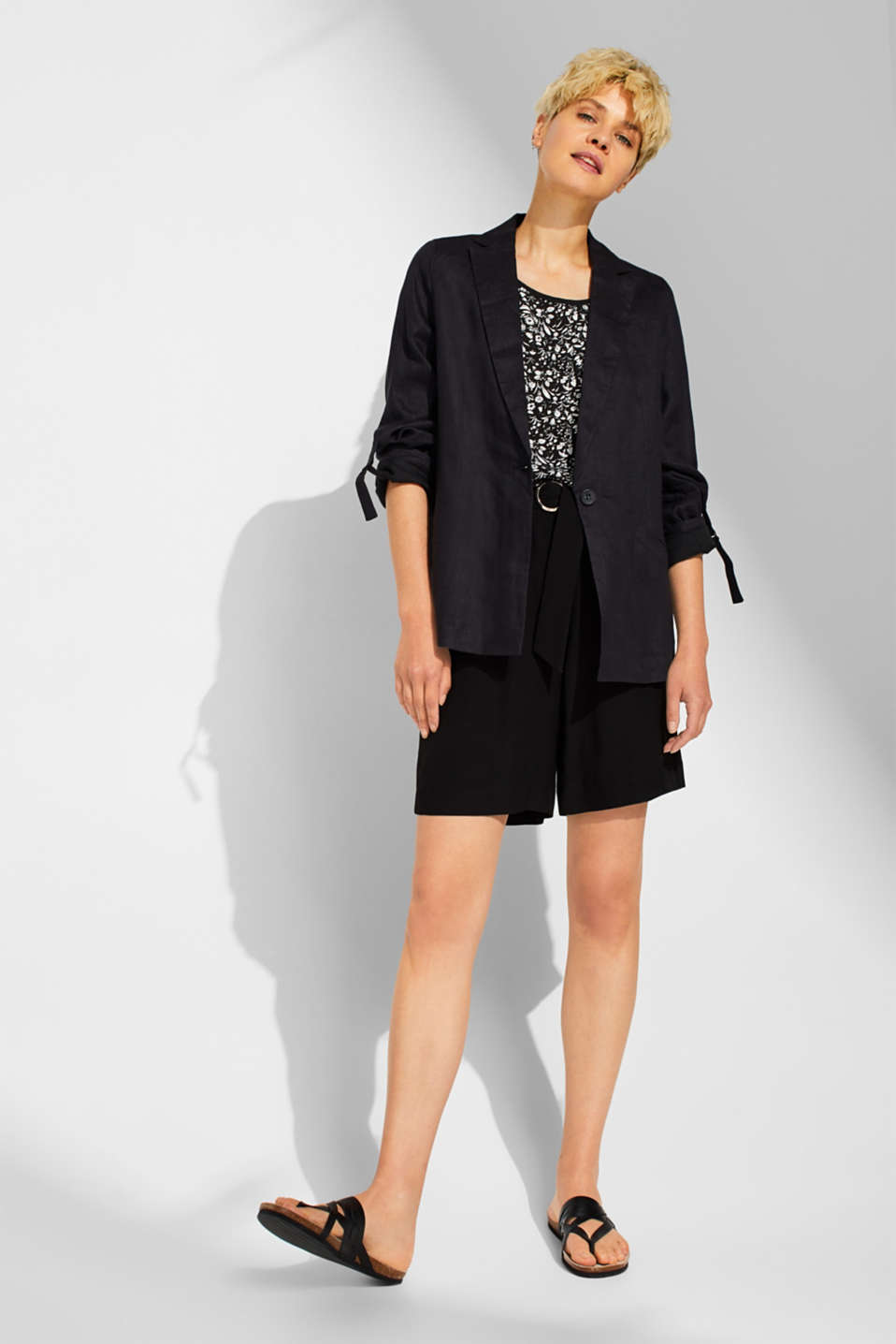 Material mix blouse top with cut-out on the back, BLACK, detail image number 1