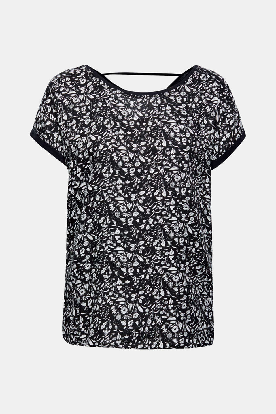 Material mix blouse top with cut-out on the back, BLACK, detail image number 6
