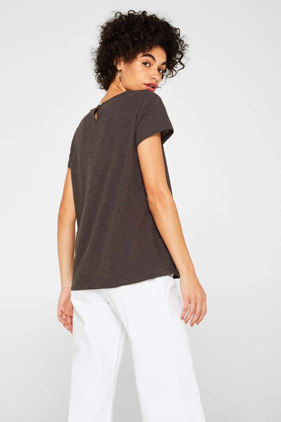 Slub top with crocheted lace, 100% cotton, DARK GREY, detail image number 3