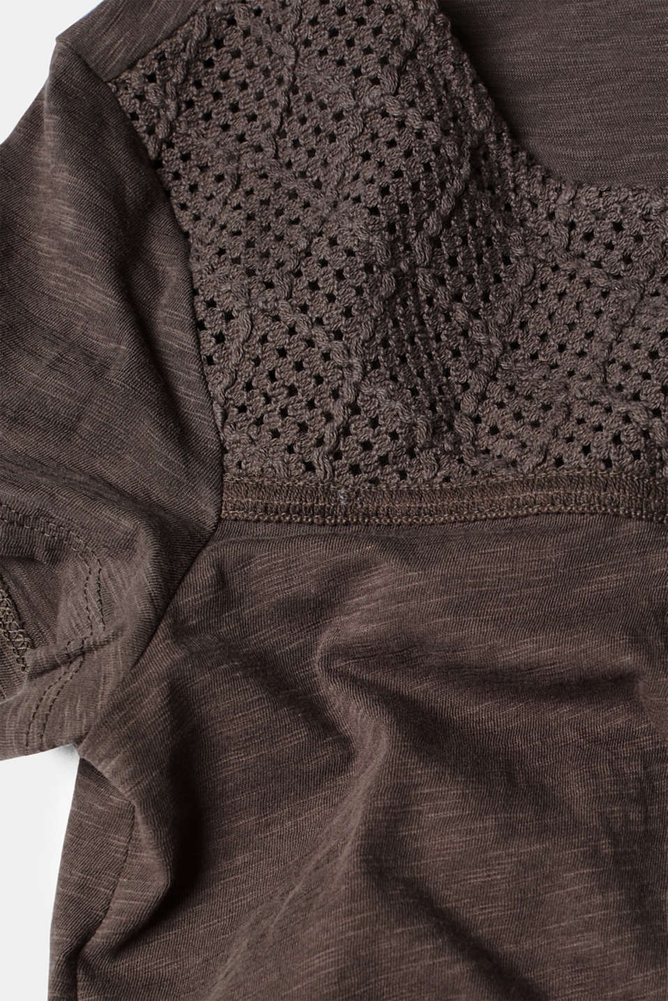 Slub top with crocheted lace, 100% cotton, DARK GREY, detail image number 4