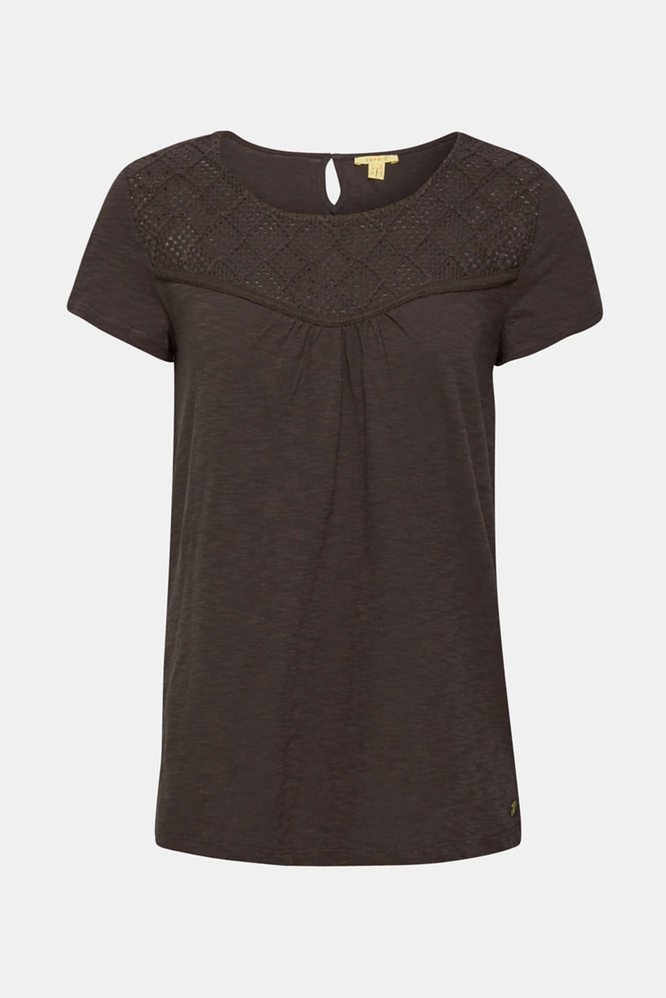 Slub top with crocheted lace, 100% cotton, DARK GREY, detail image number 7