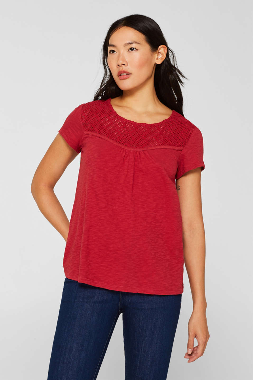 Esprit - Slub top with crocheted lace, 100% cotton