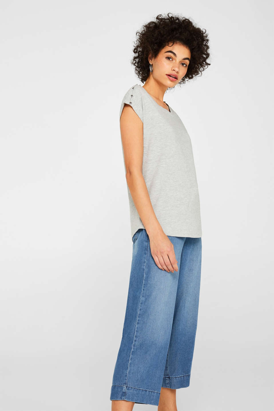 Esprit - Melange T-shirt with button plackets