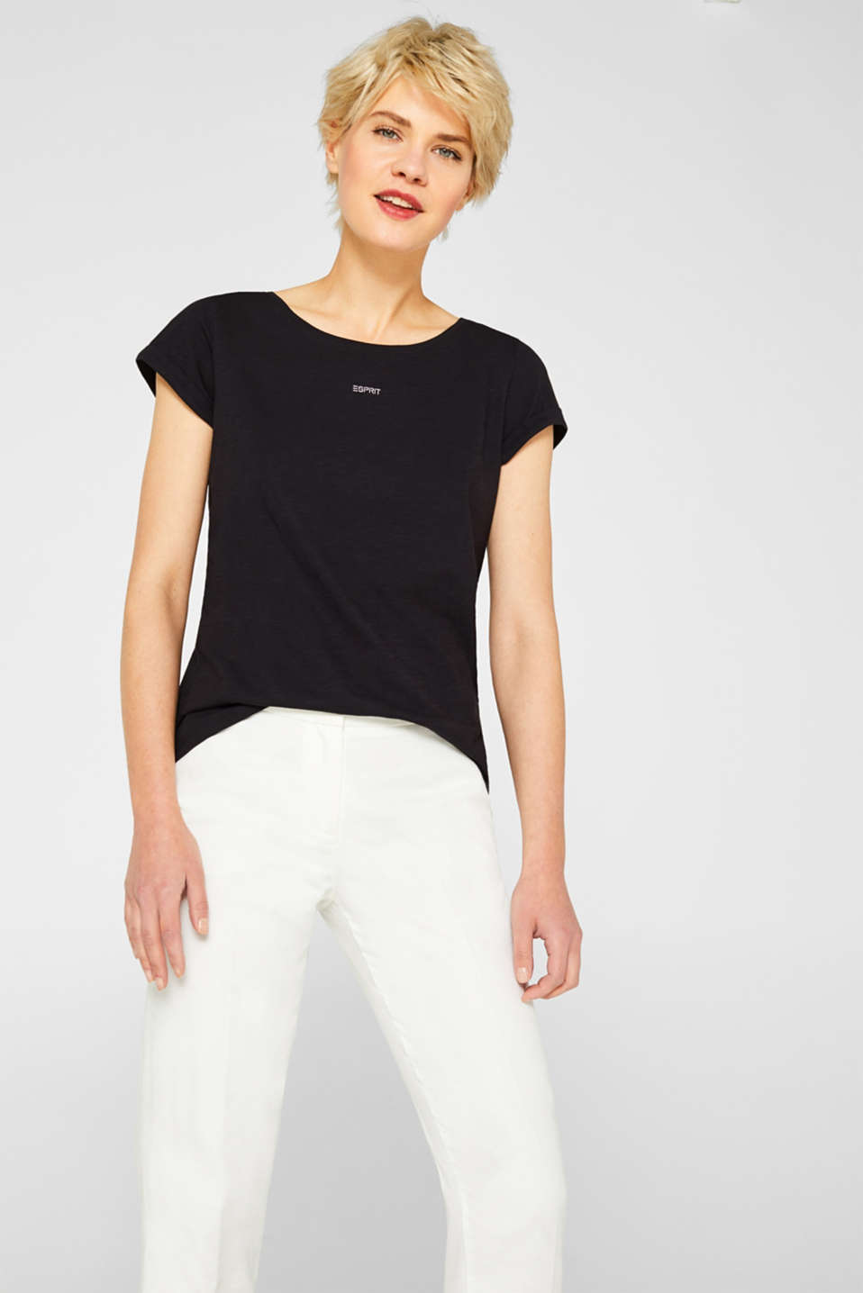 Slub top in organic cotton with a mini logo