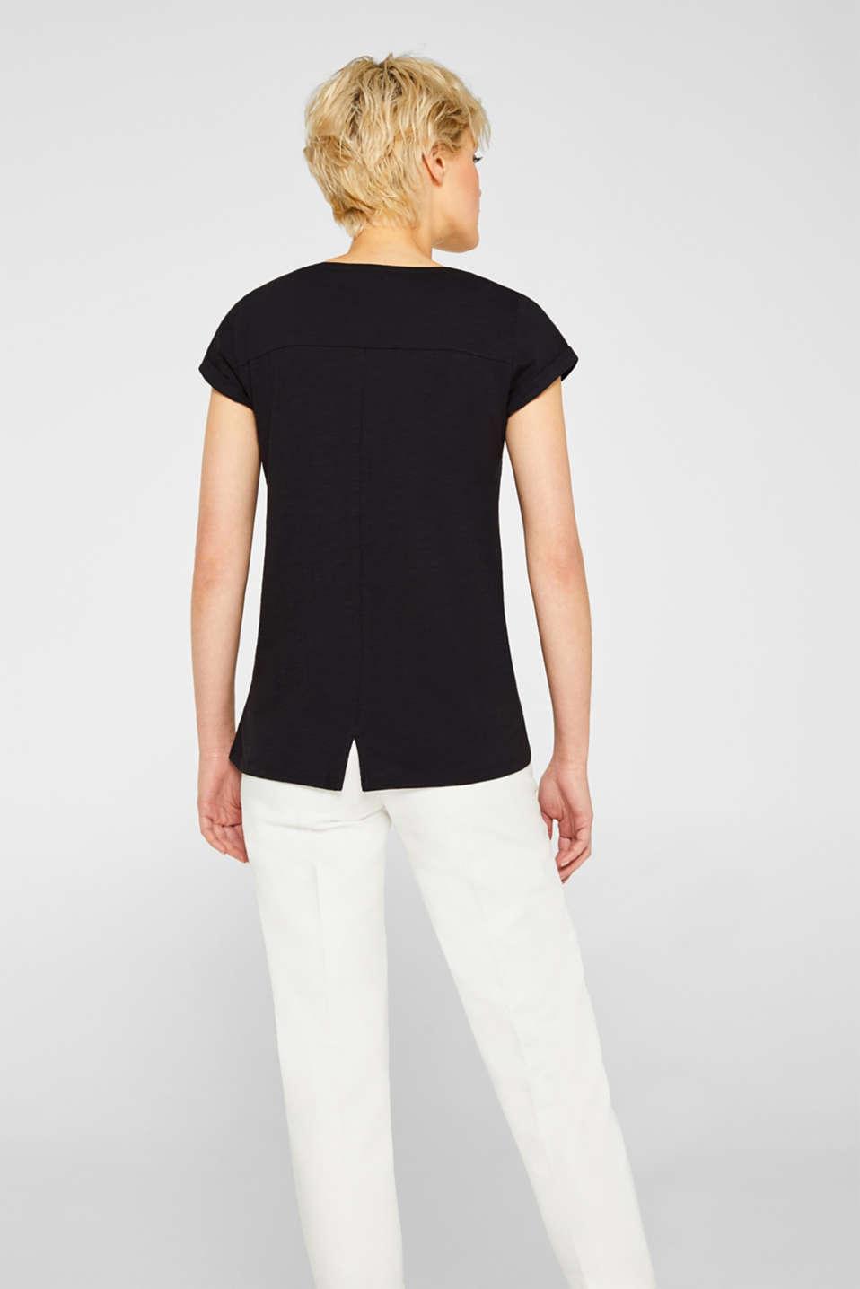 Slub top in organic cotton with a mini logo, BLACK, detail image number 3