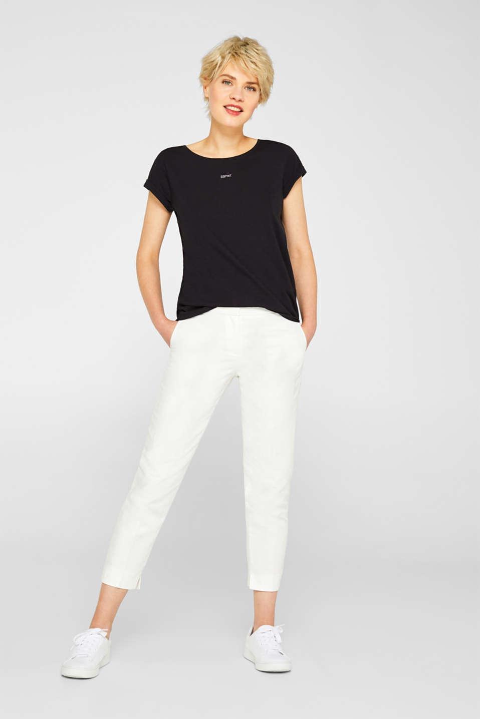 Slub top in organic cotton with a mini logo, BLACK, detail image number 7