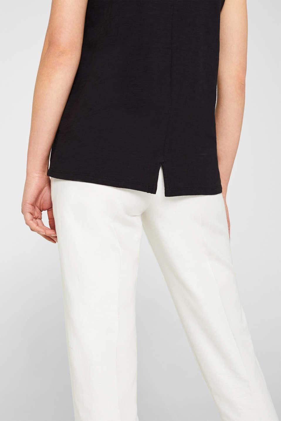 Slub top in organic cotton with a mini logo, BLACK, detail image number 6