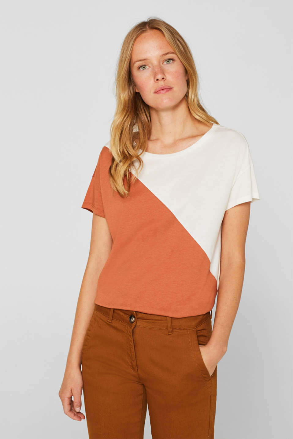 Esprit - Shirt met diagonaal colour block design