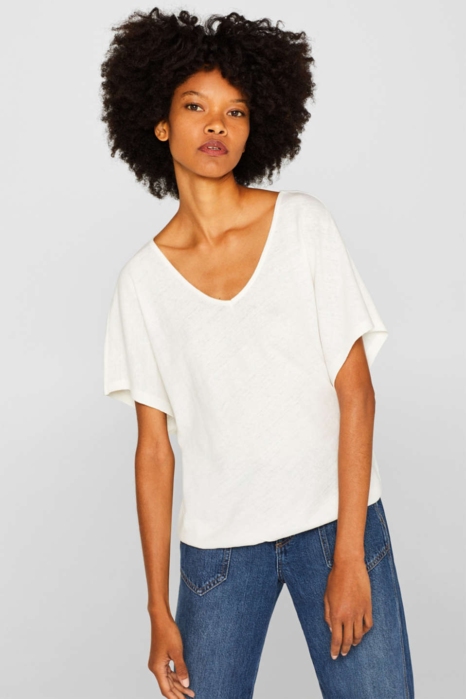 Esprit - Made of blended linen: top with cap sleeves