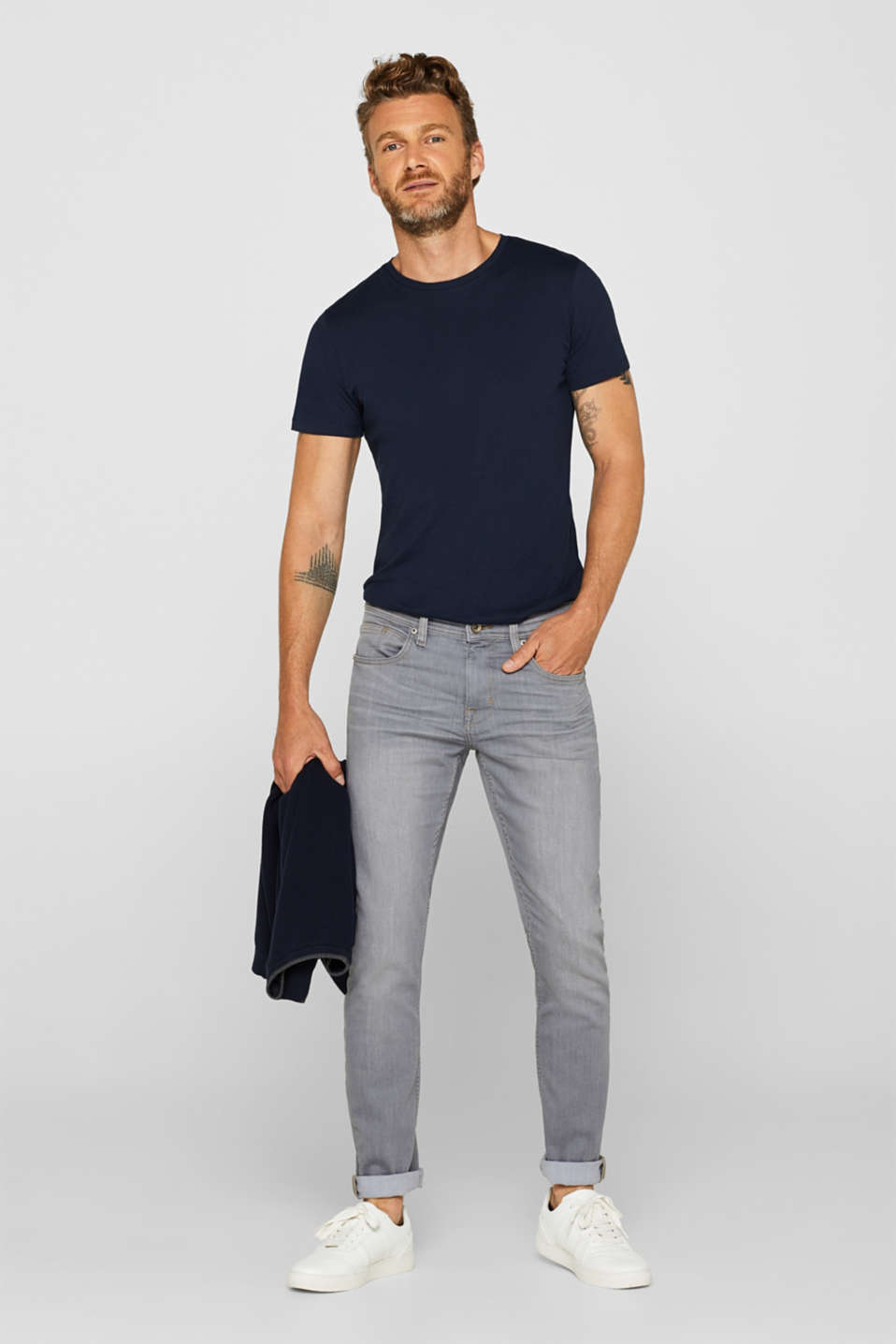 Super stretch jeans with COOLMAX®, GREY LIGHT WASH, detail