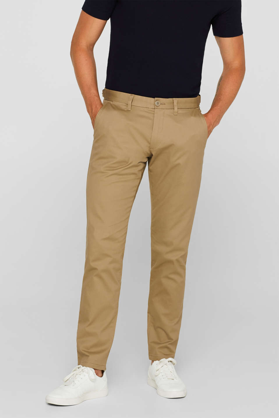 Stretch cotton trousers, BEIGE, detail image number 0