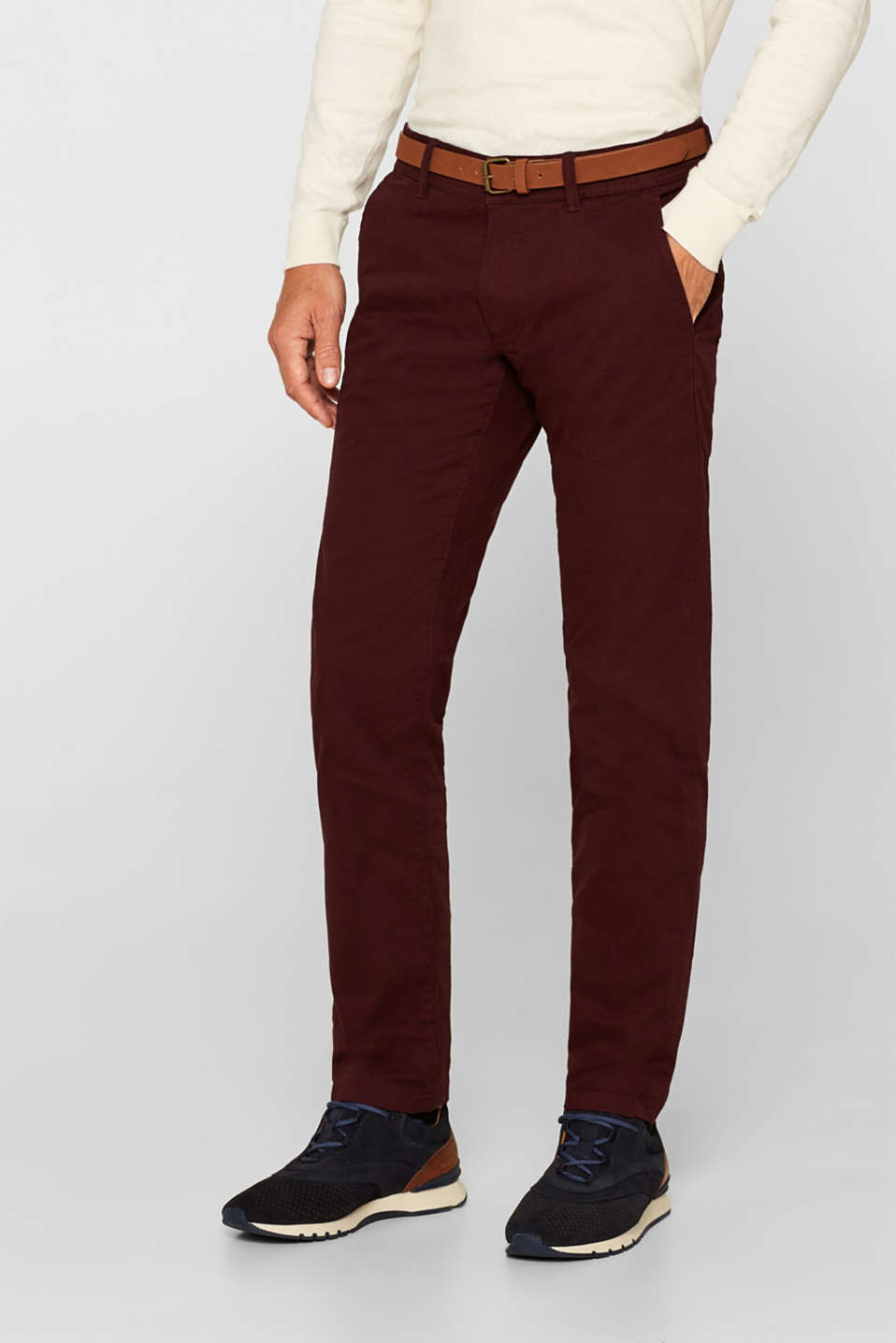 Esprit - Stretch trousers with a belt