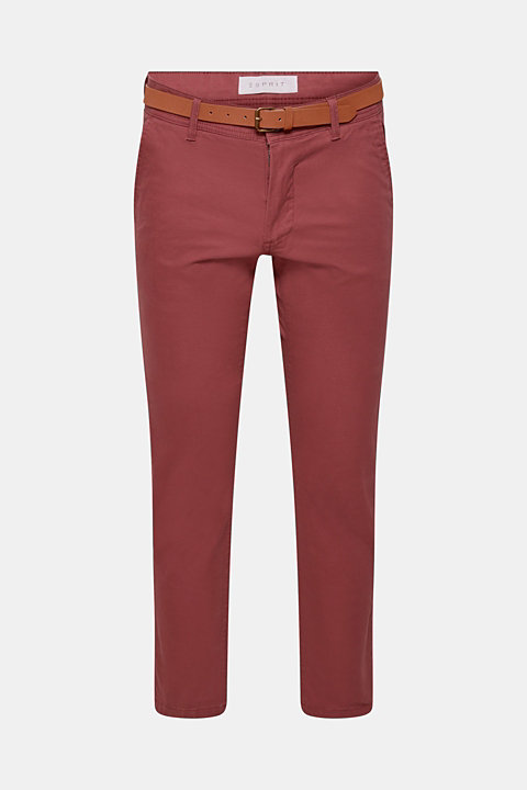 Stretch trousers with a belt