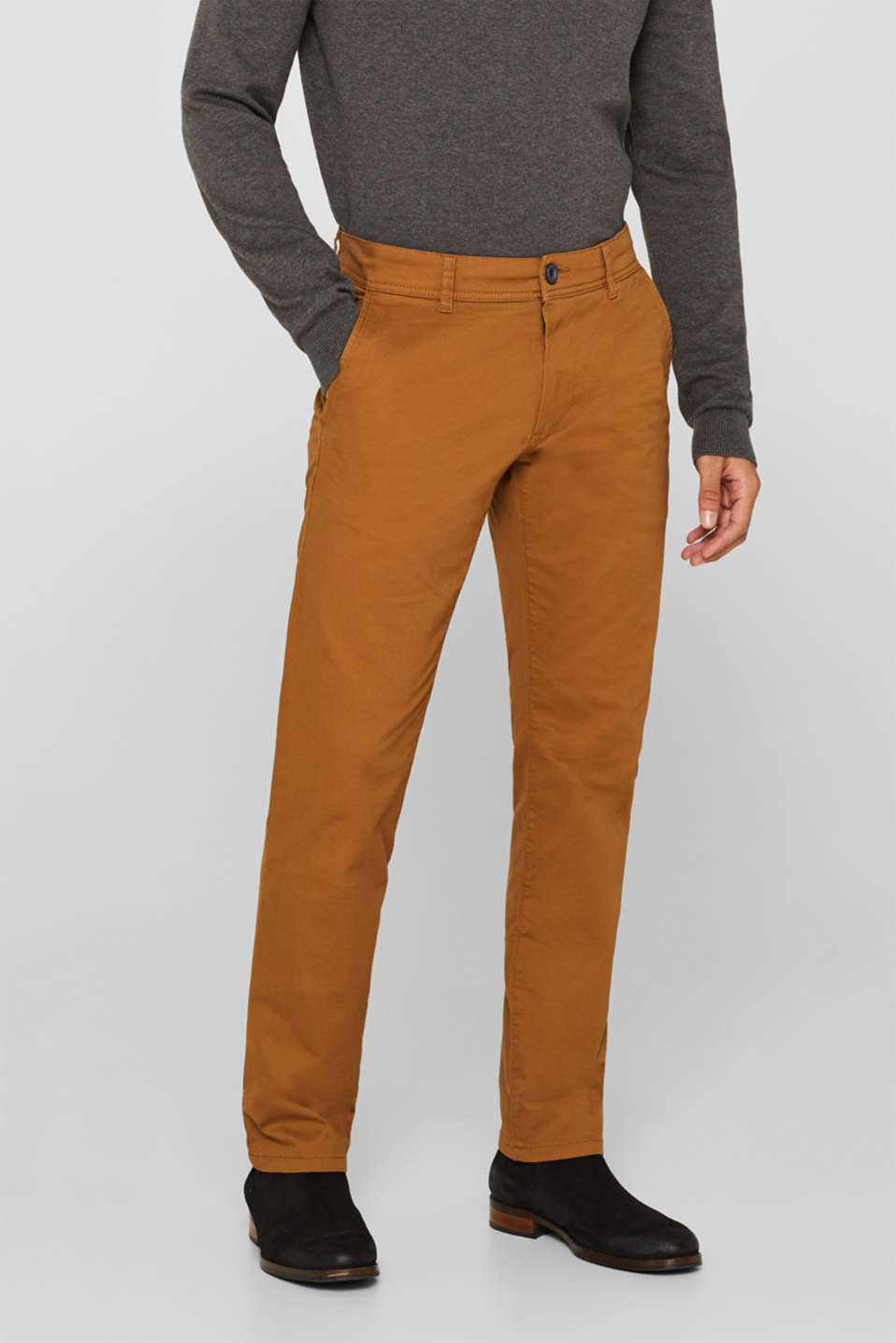 Chinos with stretch and organic cotton, CAMEL, detail image number 0