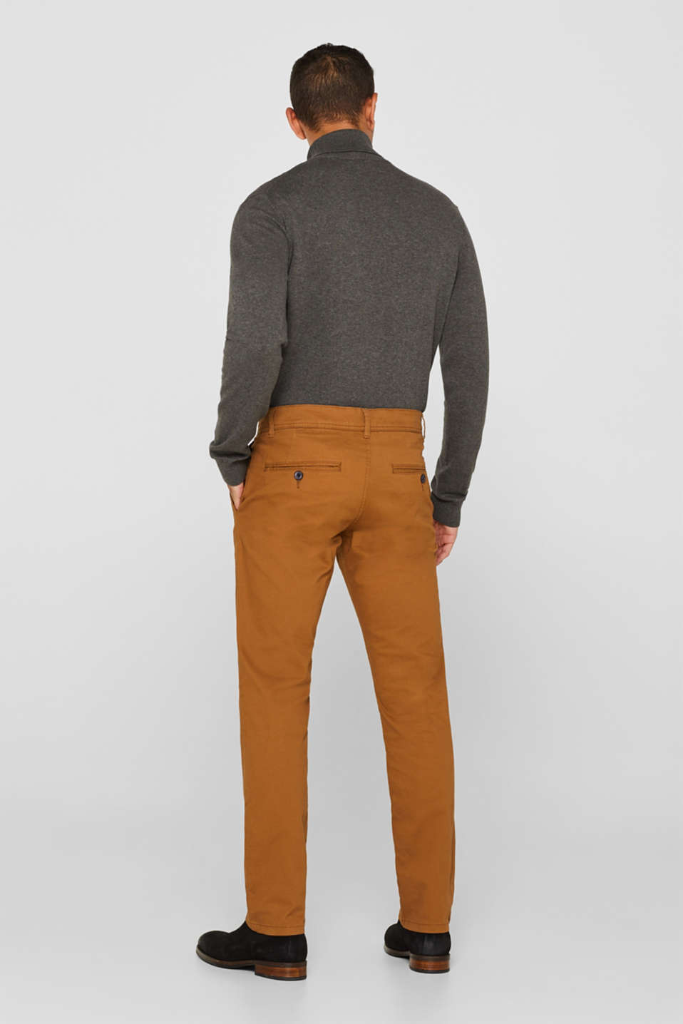 Chinos with stretch and organic cotton, CAMEL, detail image number 3