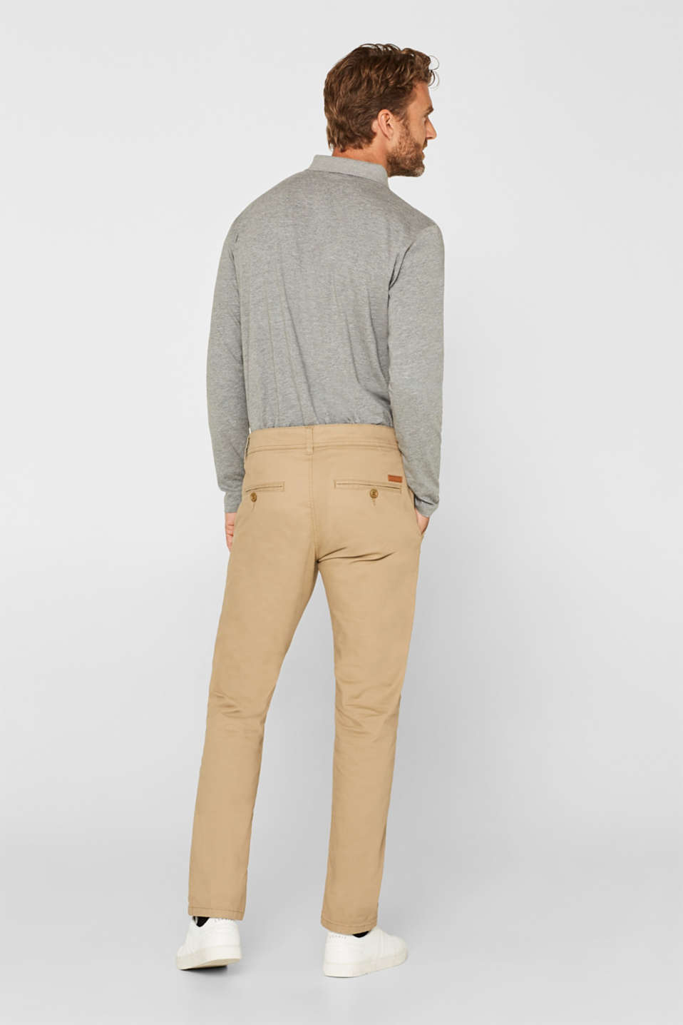Chinos with stretch and organic cotton, BEIGE, detail image number 3