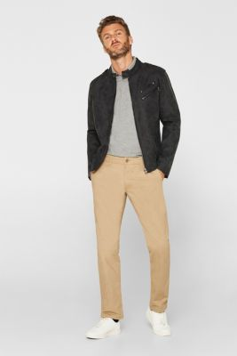 Chinos with stretch and organic cotton, BEIGE, detail