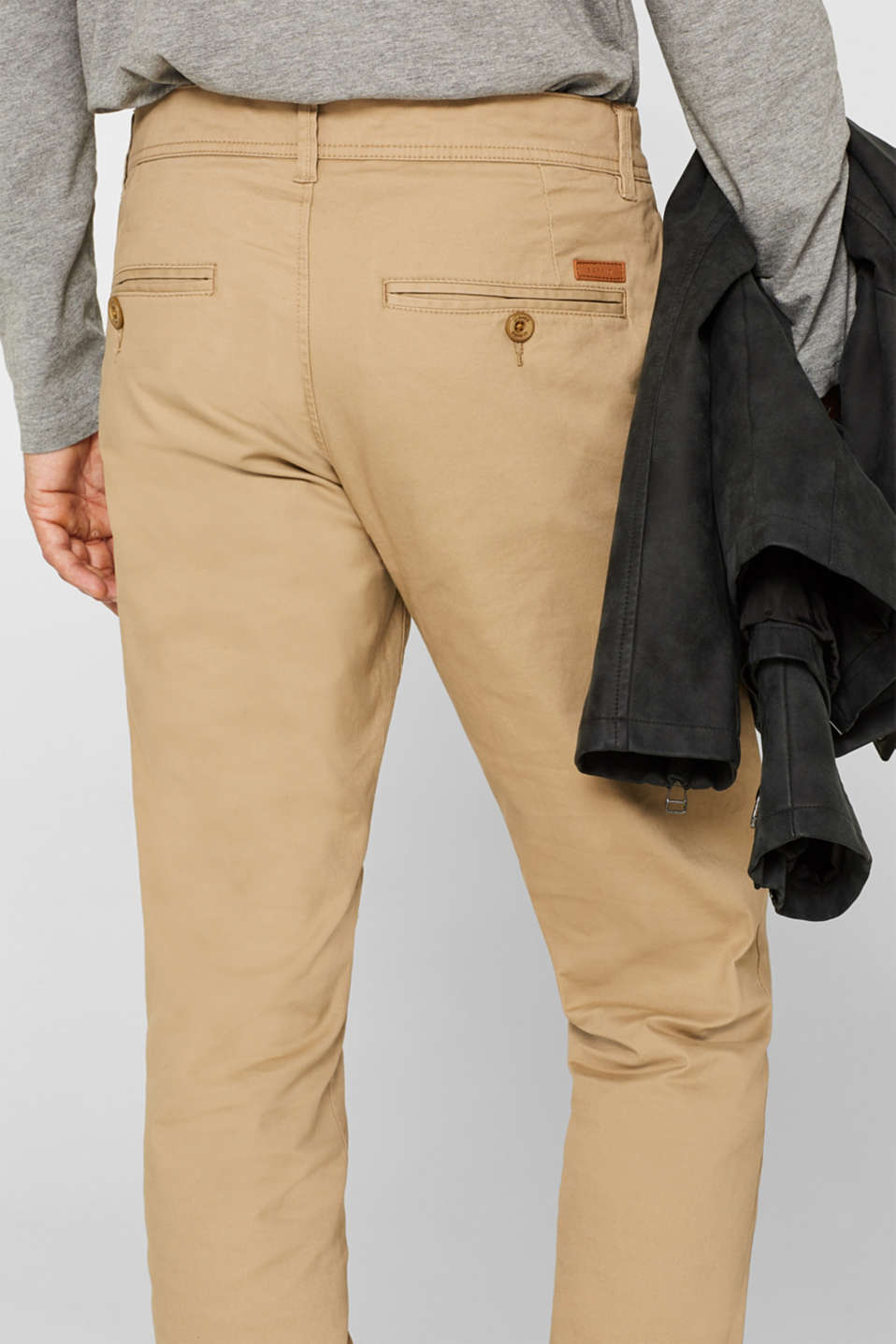 Chinos with stretch and organic cotton, BEIGE, detail image number 2