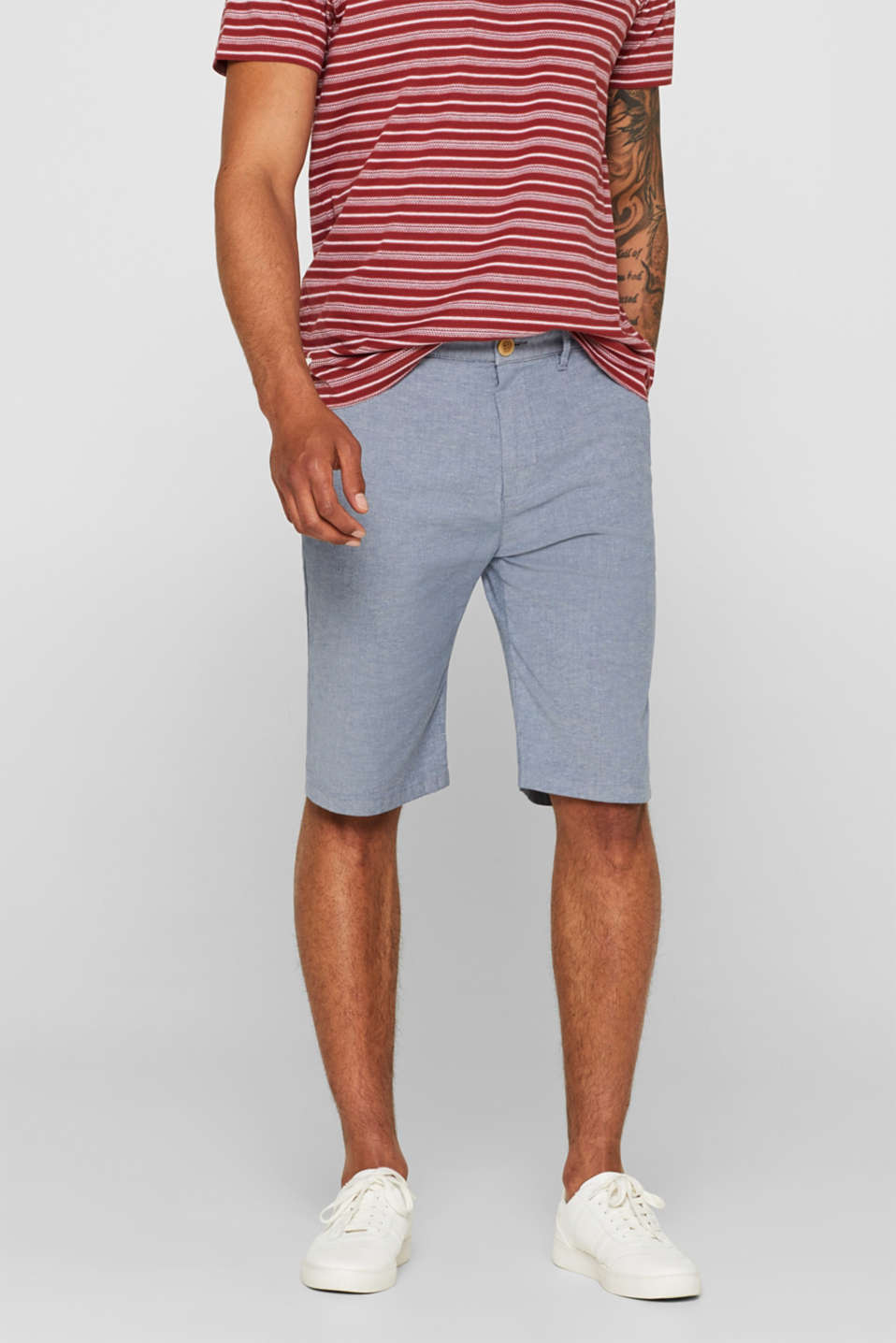 Esprit - Melange stretch cotton Bermudas