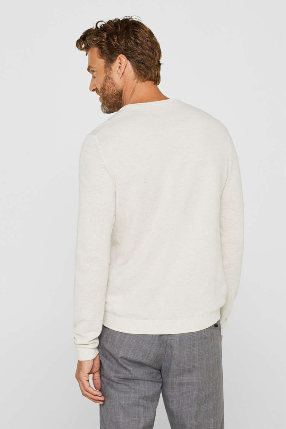 Textured jumper in 100% cotton, OFF WHITE, detail image number 3