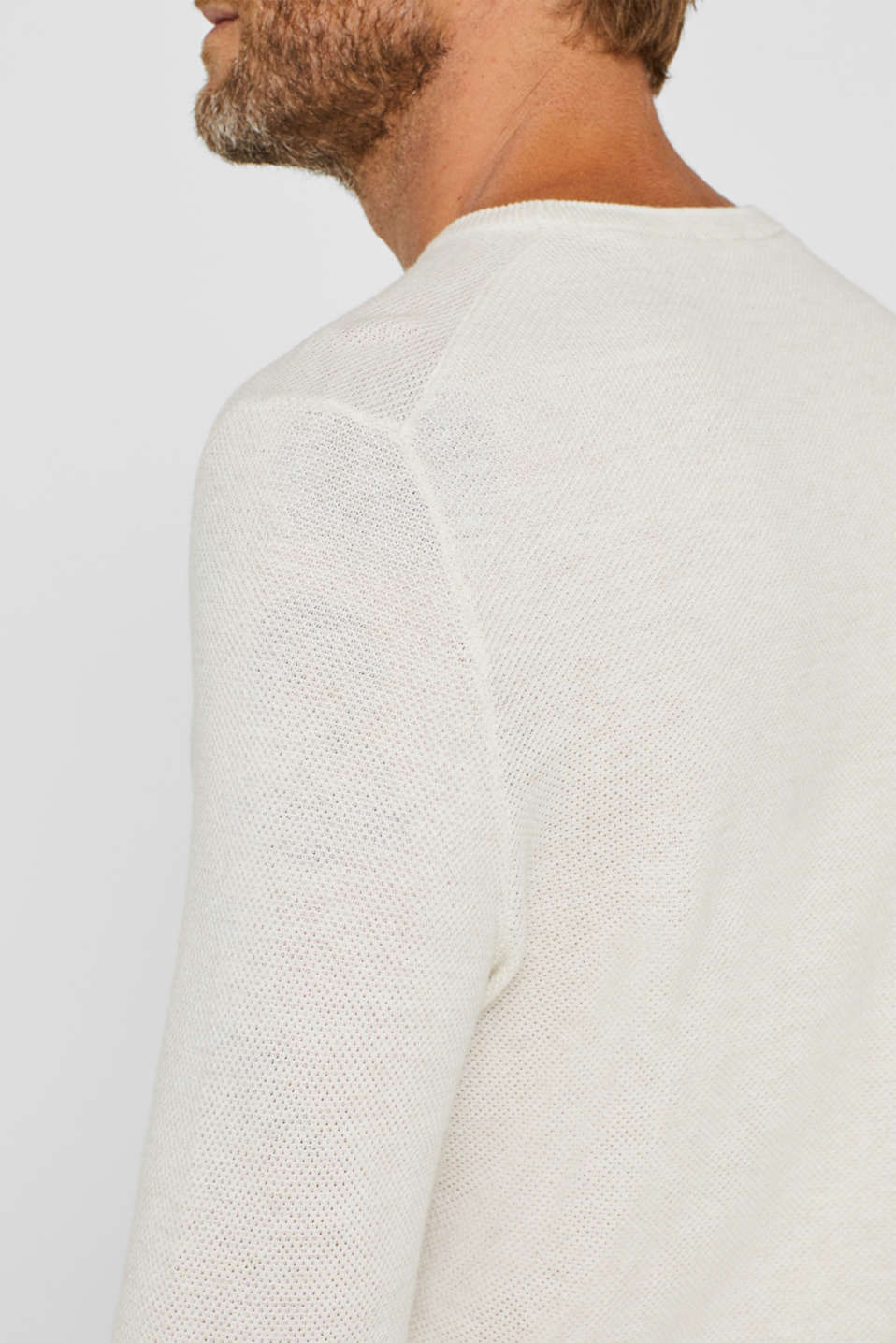 Textured jumper in 100% cotton, OFF WHITE, detail image number 8