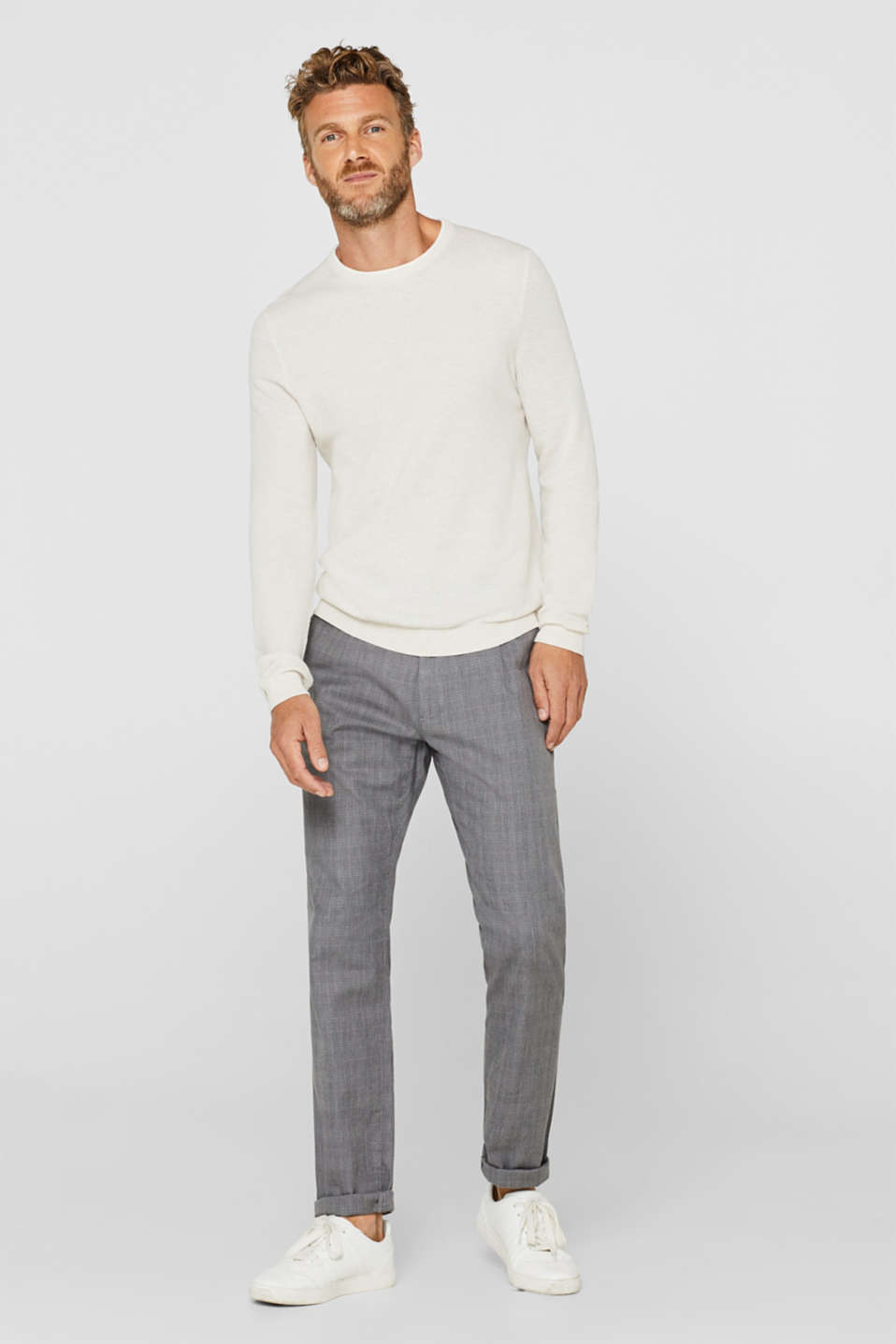 Textured jumper in 100% cotton, OFF WHITE, detail image number 1