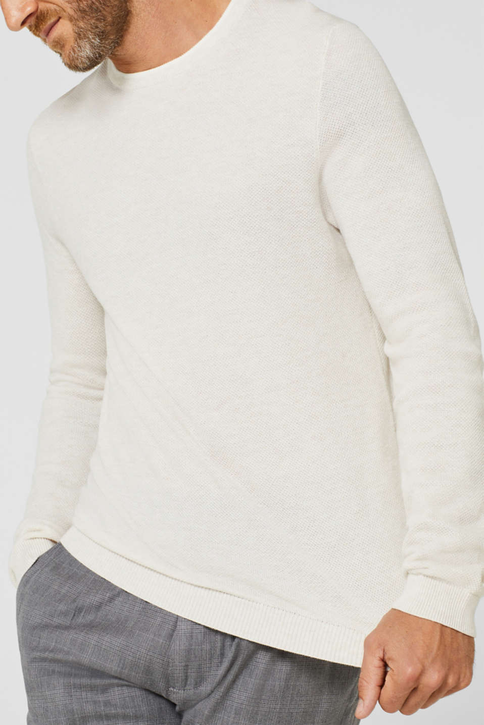 Textured jumper in 100% cotton, OFF WHITE, detail image number 2