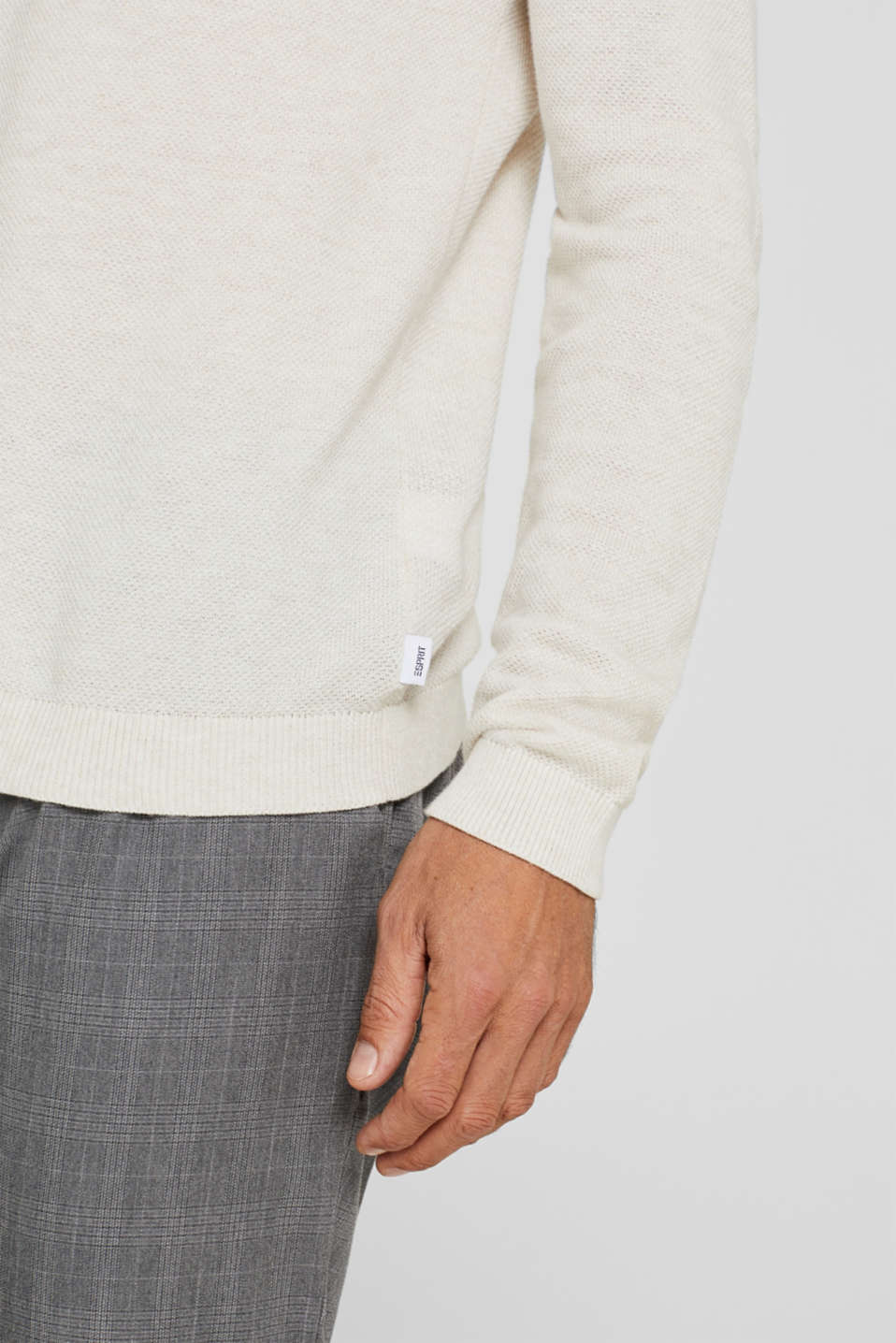 Textured jumper in 100% cotton, OFF WHITE, detail image number 6