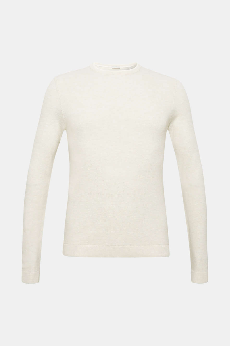 Textured jumper in 100% cotton, OFF WHITE, detail image number 7
