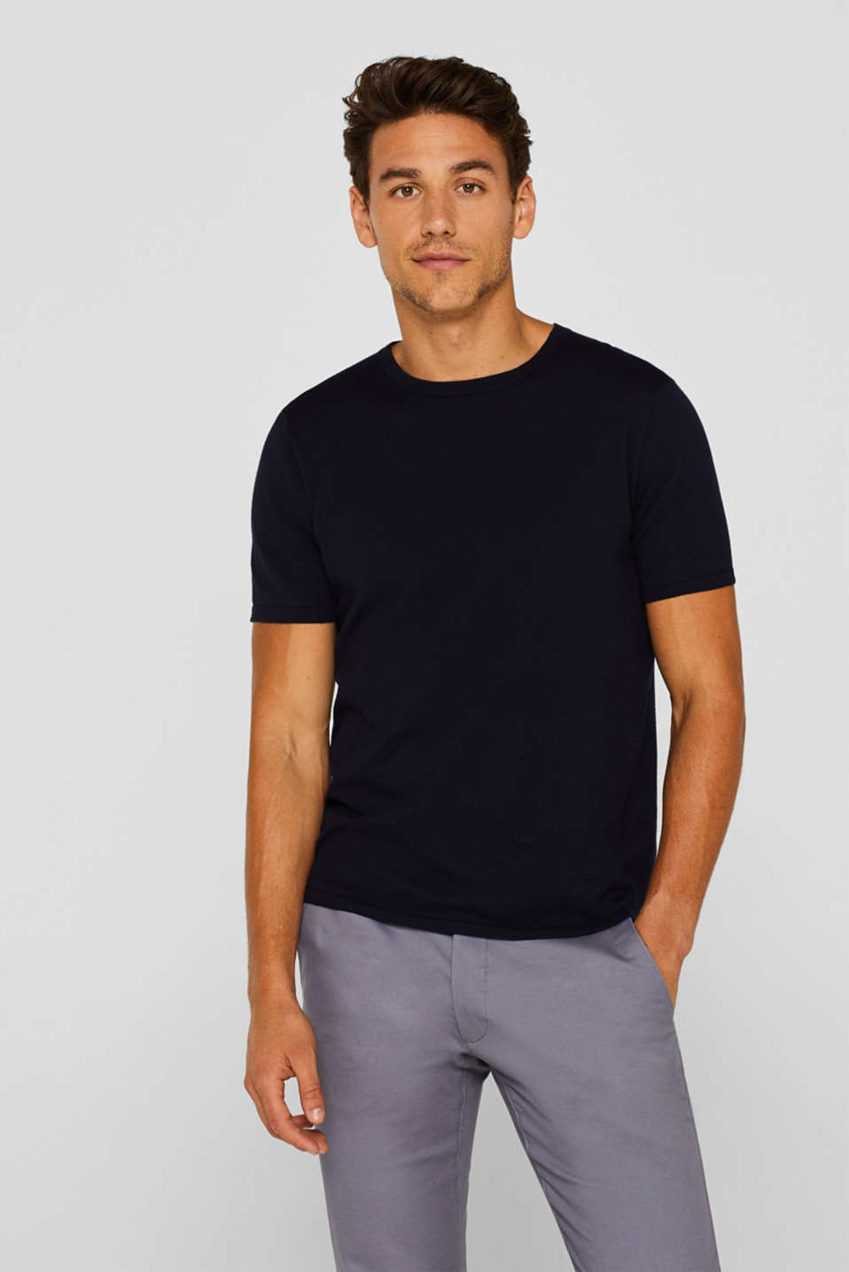 Esprit - Short-sleeved jumper made of 100% pima cotton