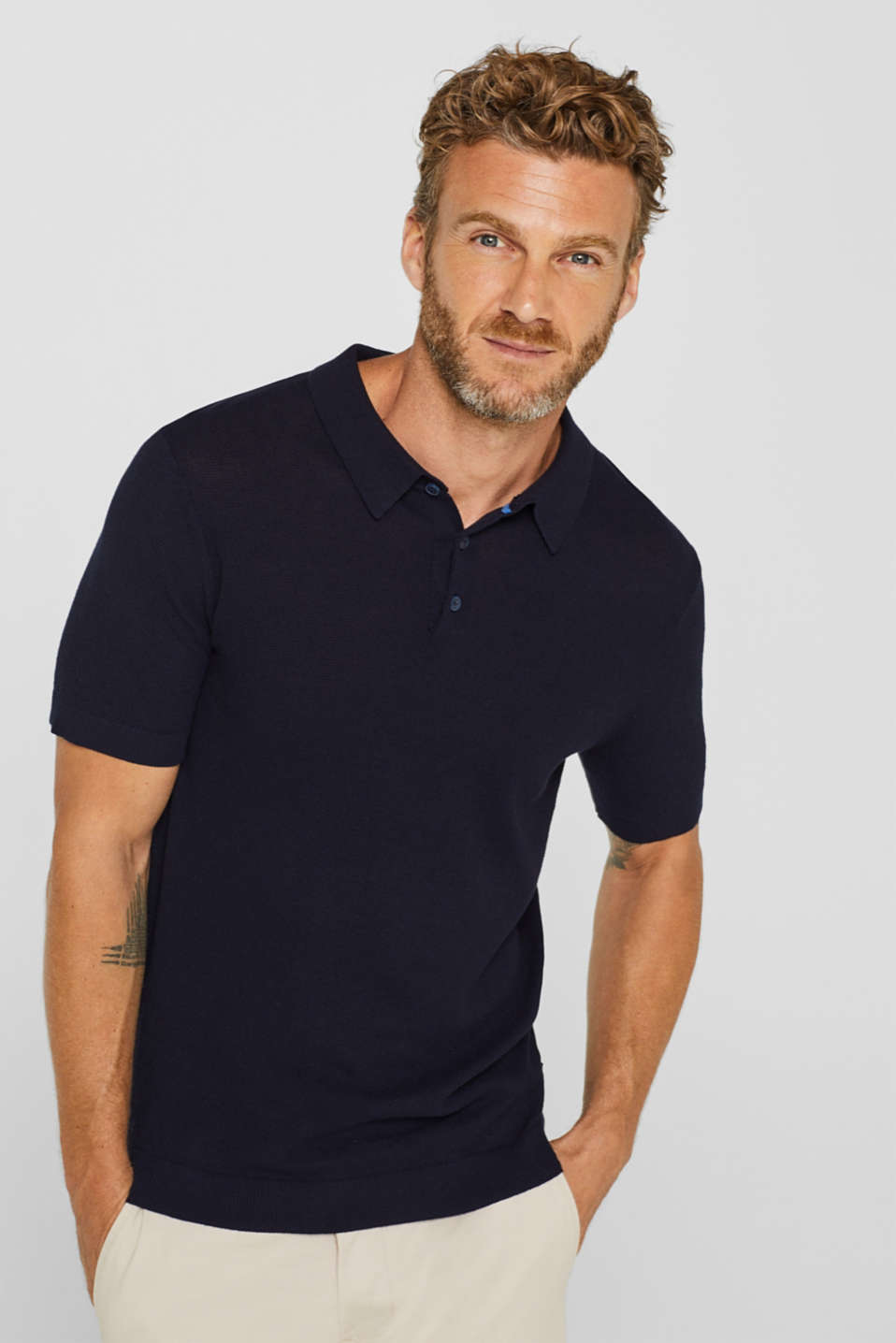 Esprit - Knit polo shirt in pima cotton
