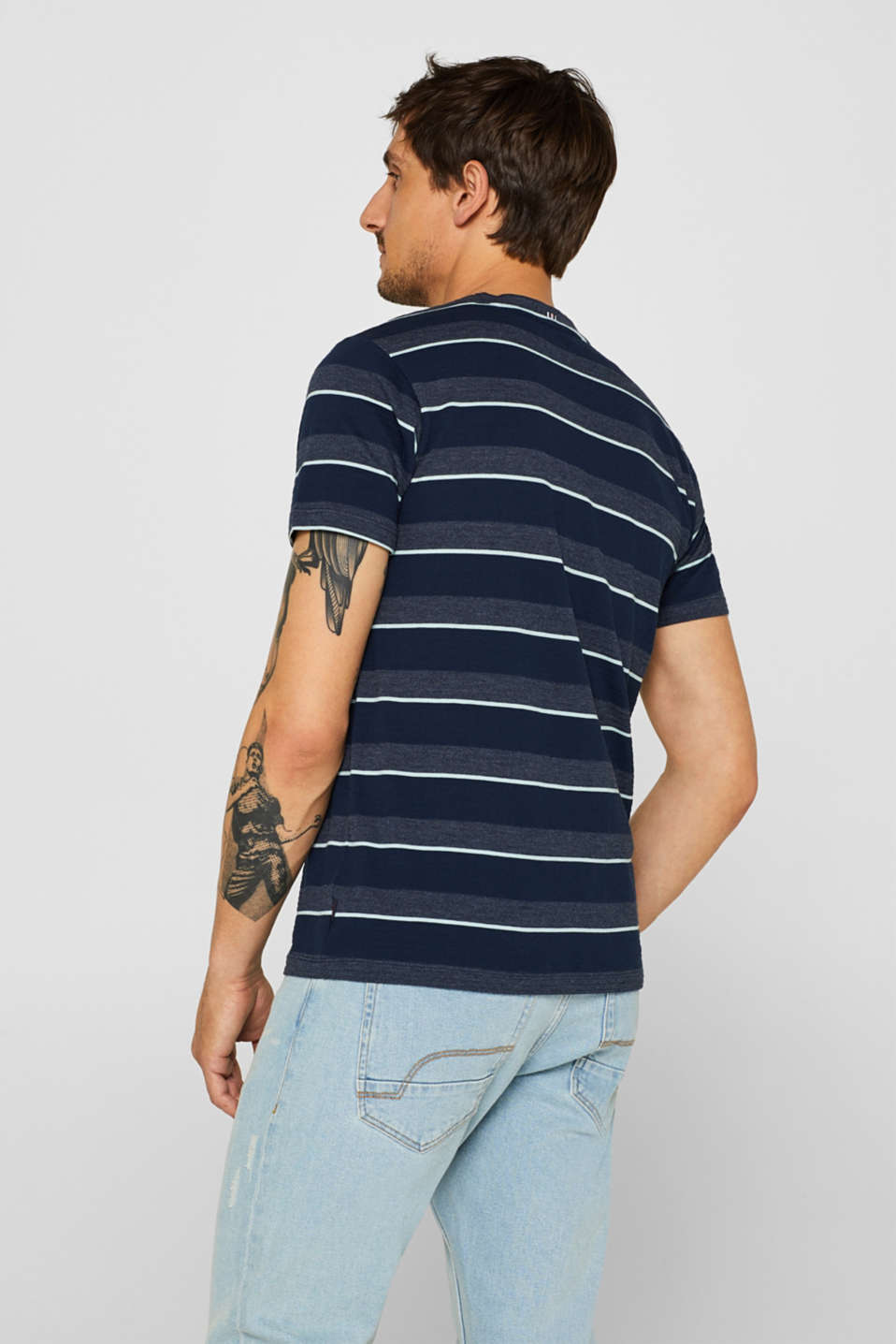 Jersey T-shirt with textured stripes, NAVY, detail image number 3