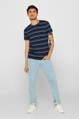 Jersey T-shirt with textured stripes, NAVY, detail