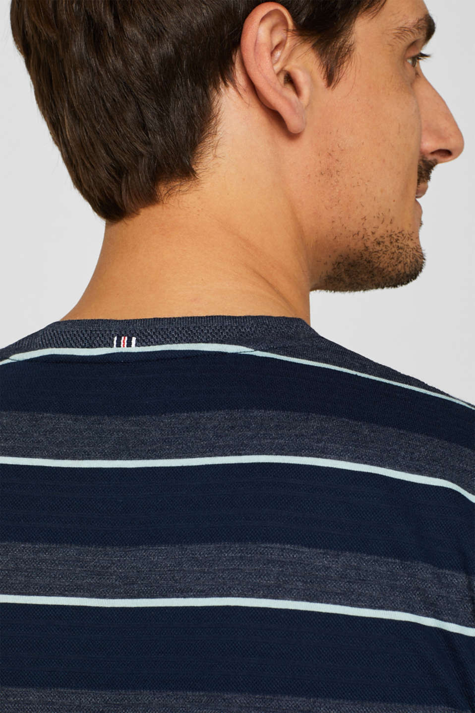 Jersey T-shirt with textured stripes, NAVY, detail image number 5