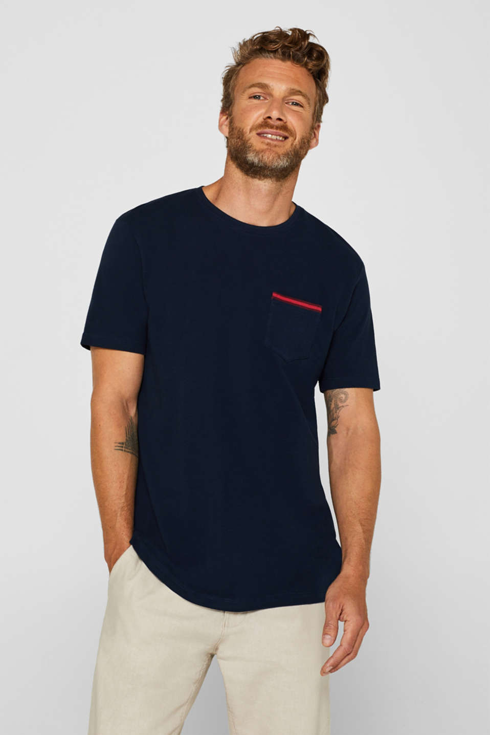 Piqué top with a breast pocket, 100% cotton