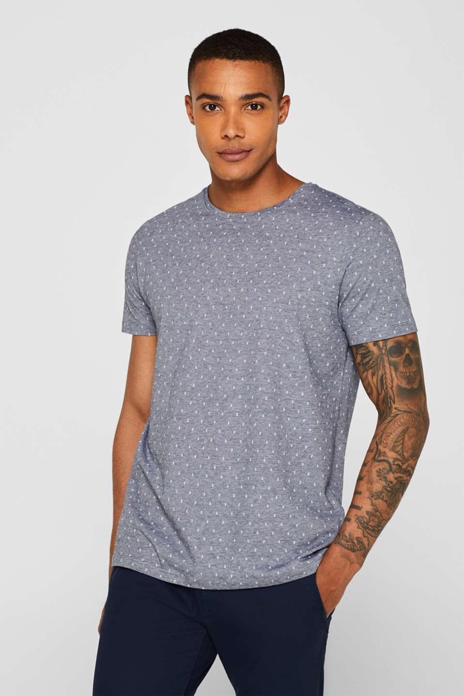 Esprit - Jersey shirt met print all-over, 100% katoen